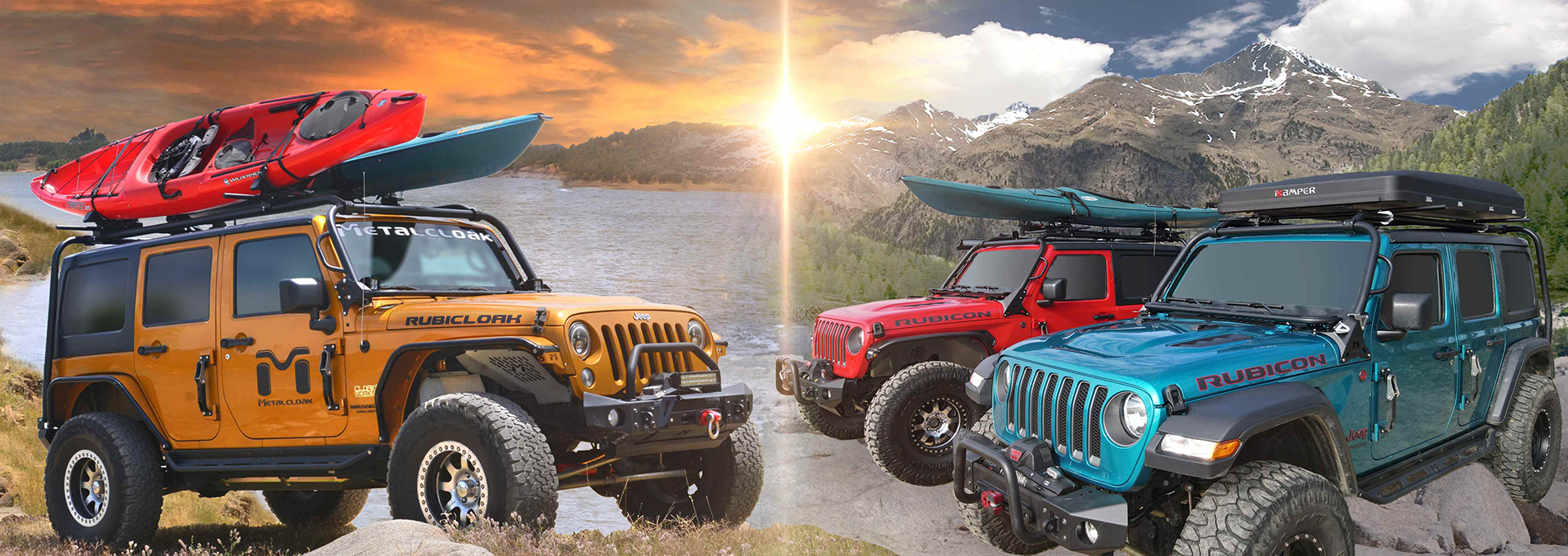 jeeps by a lake with kayaks and roof racks