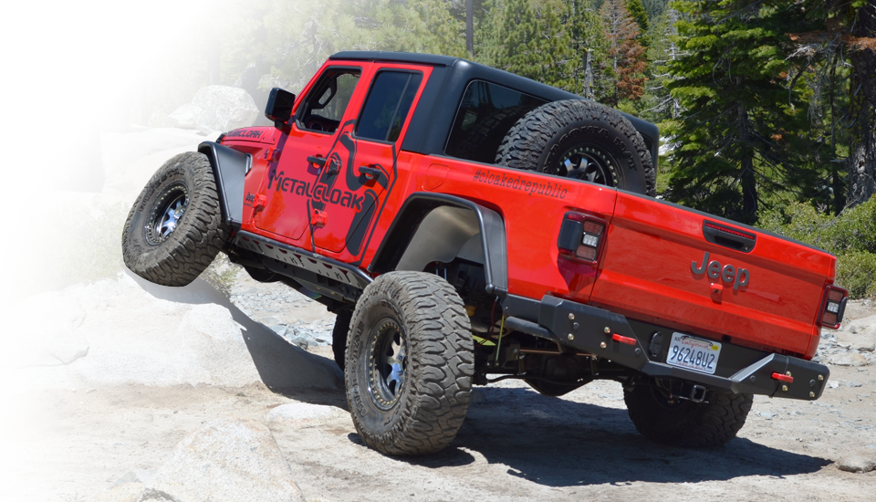 red jeep jl wrangler rock crawling