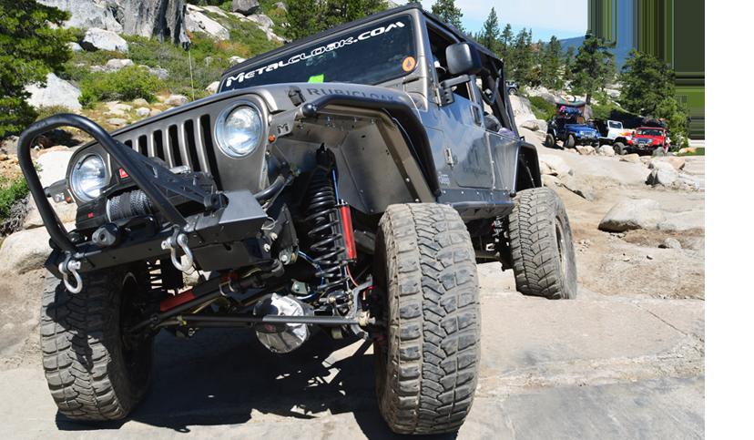 gray MetalCloak Jeep TJ Wrangler on rock trail