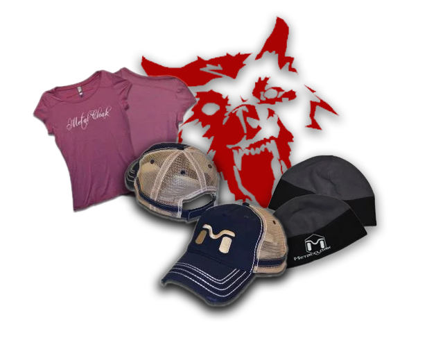 MetalCloak apparel with blue MetalCloak hats and red wolf stickers