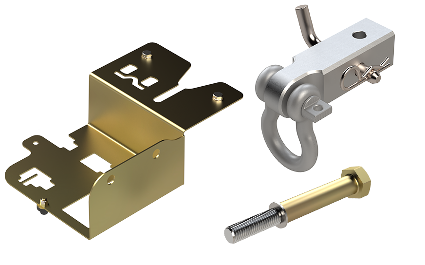 Various tools, a drill bit, and tow hook