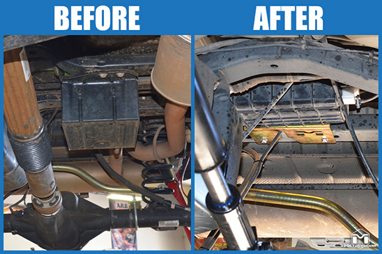 JK Wrangler Evap Canister Concealment Kit Before and After