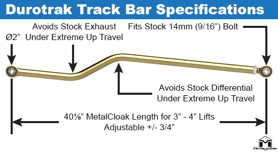 Durotrak Rear Track Bar Specification