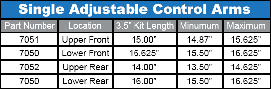 Duroflex Control Arms Lengths