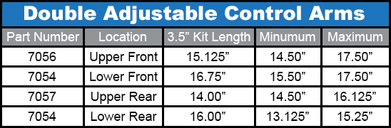 Duroflex Control Arms Lengths
