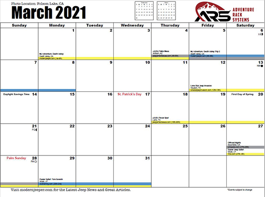 Off Road Calendar Month